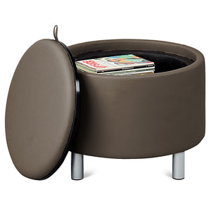 Gather Reversible Top Faux Leather Circle Seat/Table