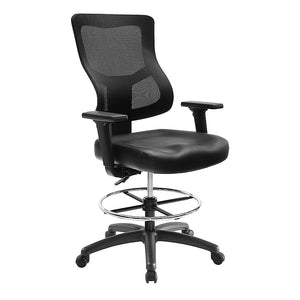 Ranier Initial Mesh Back Leather Seat Drafting Stool