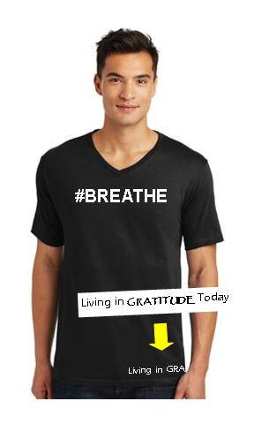 d96e1173 Men's, black, V neck, #BREATHE cotton tee. Recovery tee, 12 step tee, –  Living in GRATITUDE Today