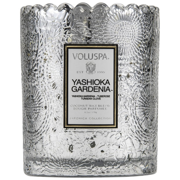 Voluspa Yashioka Gardenia Scalloped Glass Candle