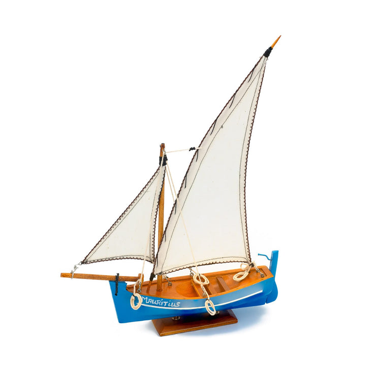 Mauritius-Handmade-Ship-Model-Small Traditional Pirogue - Blue hull with white sail-DodoMarket-Souvenirs