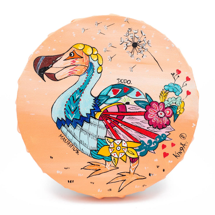 "Mauritius-Authentic-HandMade-Painting-Kinga, ""Dodo"", round painting-DodoMarket"