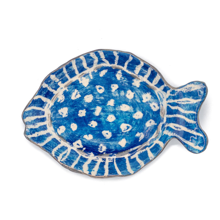 "Mauritius-Handmade-Ceramic-Serving Oval Plate ""Blue Fish""-DodoMarket-Souvenirs"