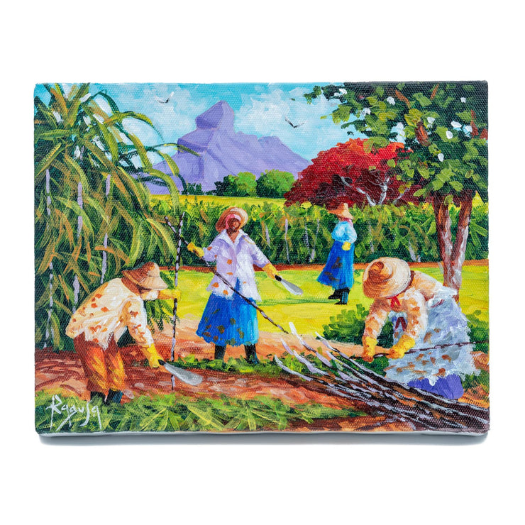 "Mauritius-Authentic-HandMade-Painting-Pino Ragusa, ""Coupeuse de canne""-DodoMarket"