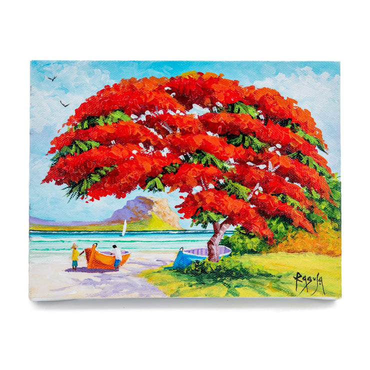 "Mauritius-Authentic-HandMade-Painting-Pino Ragusa, ""Flaboyant et Morne""-DodoMarket"