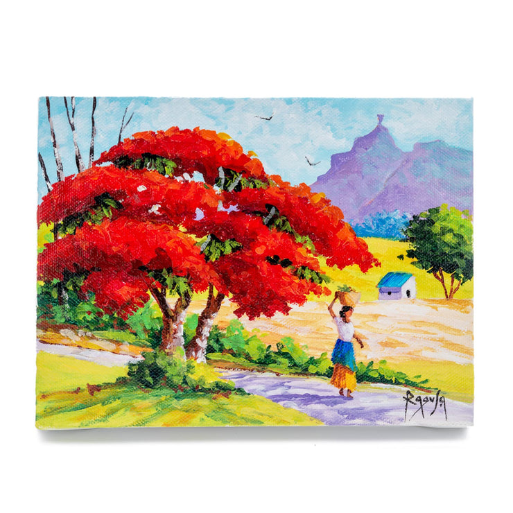 "Mauritius-Authentic-HandMade-Painting-Pino Ragusa, ""Pieter Both mountain""-DodoMarket"