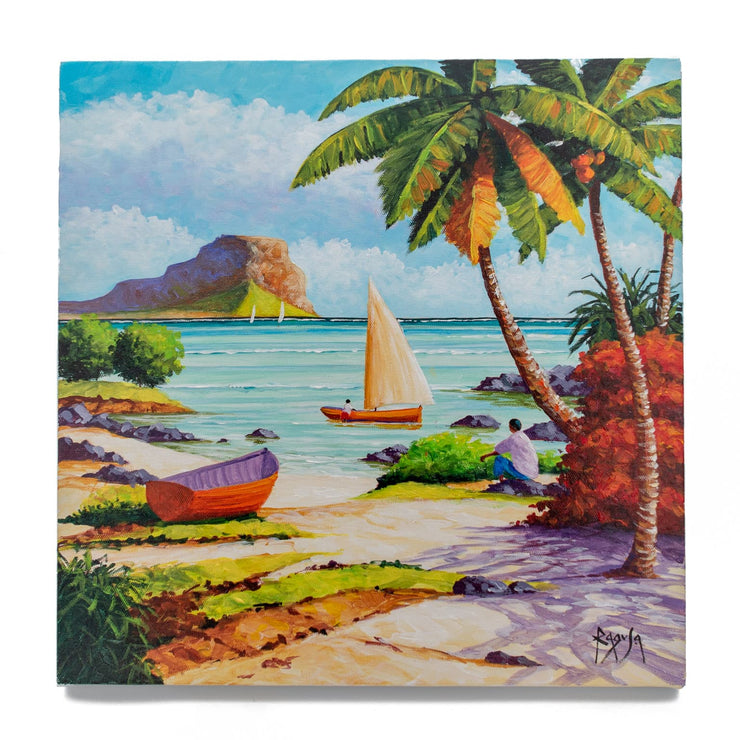 "Mauritius-Authentic-HandMade-Painting-Pino Ragusa, ""Le Morne""-DodoMarket"