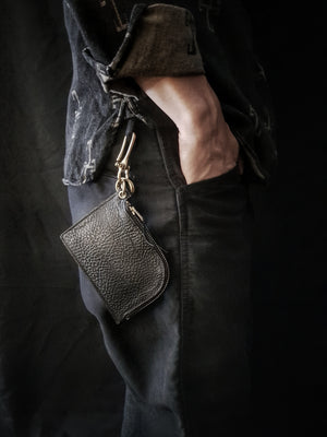 OGL Badalassi Zipper Leather Wallet Black