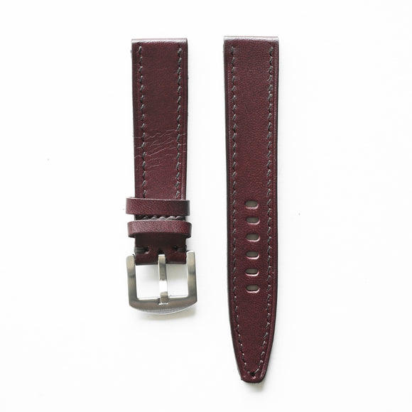 OGL WTC HANDSTITCH BUTTERO WATCH STRAP WINE (WINE STITCH)