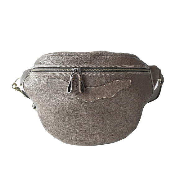 OGL 9981 LEATHER HOBO MESSENGER BAG ELEPHANT GREY