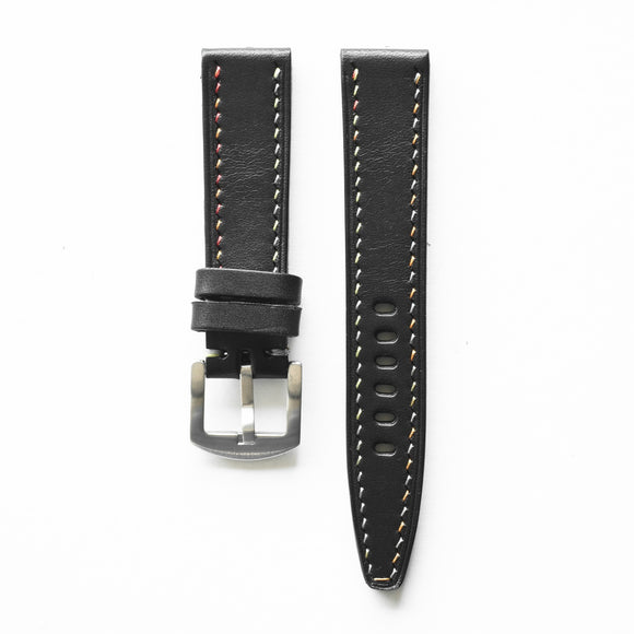 OGL WTC HANDSTITCH BUTTERO WATCH STRAP BLACK COL