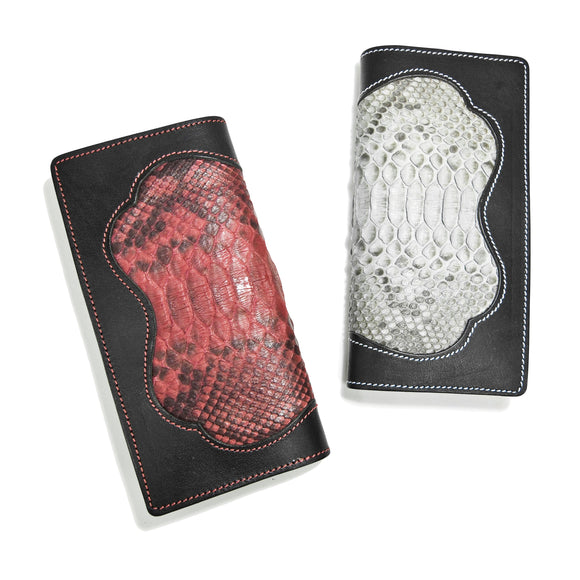 OGL SP PYTHON SKIN INLAY LONG LEATHER WALLET (COLOURED)