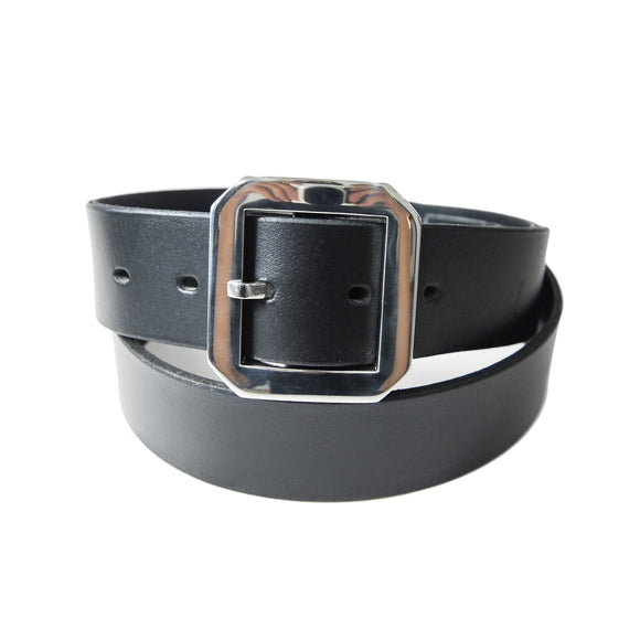 OGL ONLY GOOD LIFE FORMAL SINGLE PRONG BUFF BLACK LEATHER BELT
