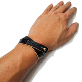 OGL ONLY GOOD LIFE BLACK DOUBLE-LOOP LEATHER BRACELET