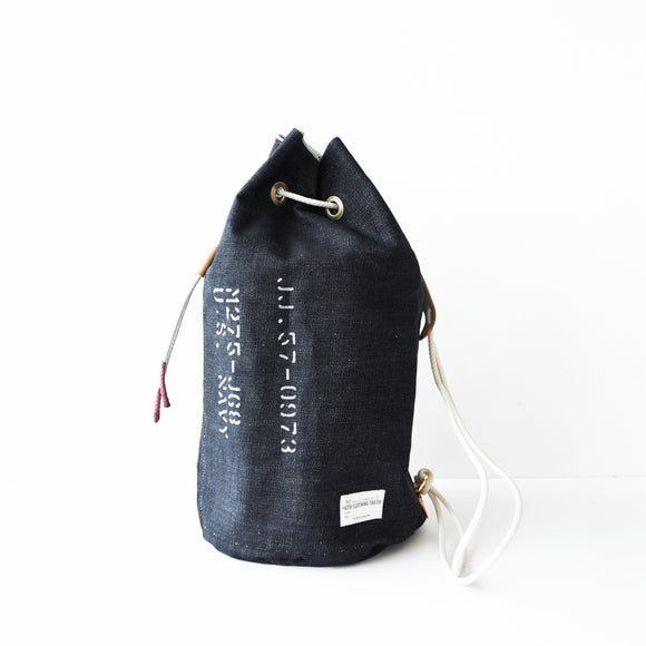 FAITH SFK LEATHER DENIM BUCKET BAG INDIGO