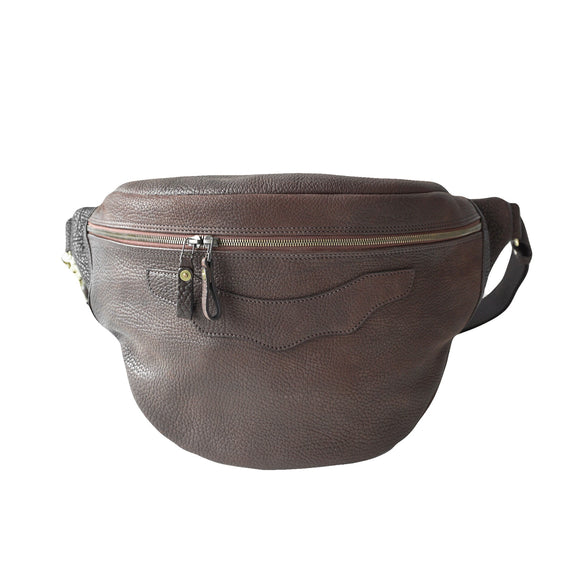 OGL 9981 LEATHER HOBO MESSENGER BAG SEPIA