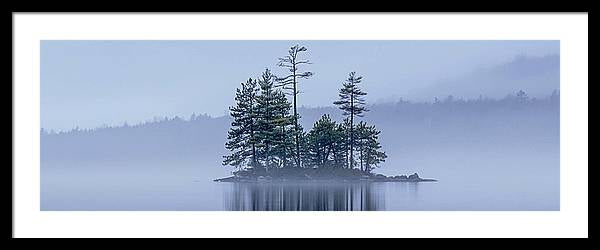 "Misty Island 36""x12"" Panorama, Framed and Matted"