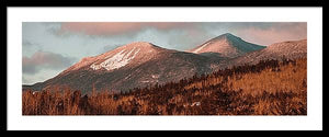 "Snowy Mountain in Maine 36""x12"" Panorama, Framed and Matted"
