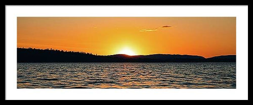"Lake Sunset 36""x12"" Panorama, Framed and Matted"