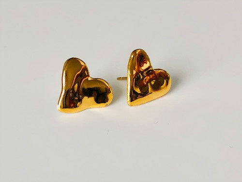 Porcelain and 24k Gold Studs - Hearts