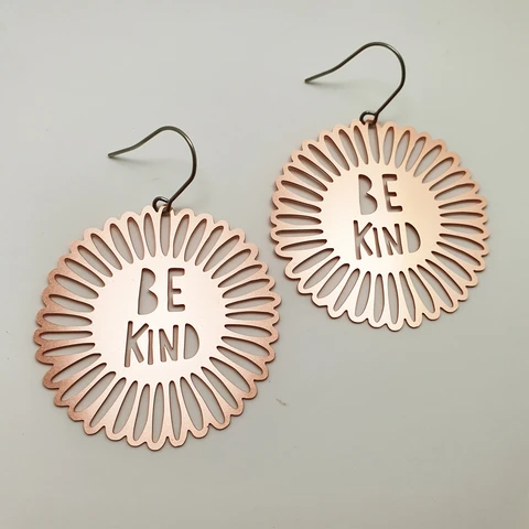Be Kind Flowers Earrings - Rose Gold