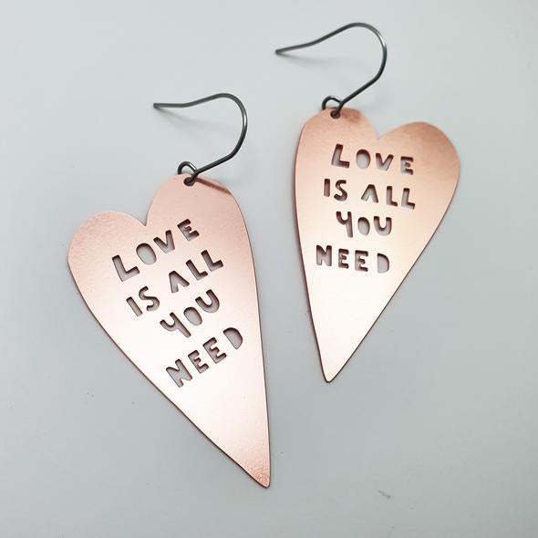 Love is All You Need Earrings - Rose Gold