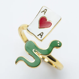 Adjustable Ring - Ace of Hearts & Snake
