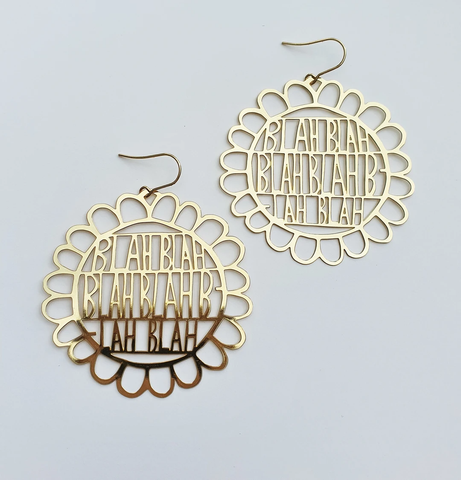 Blah Blah Blah Earrings - Gold