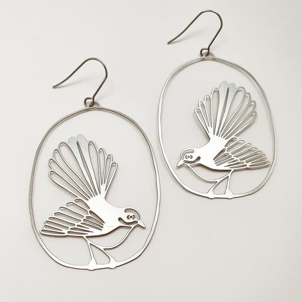 Fantail/Piwakawaka Earrings - Silver