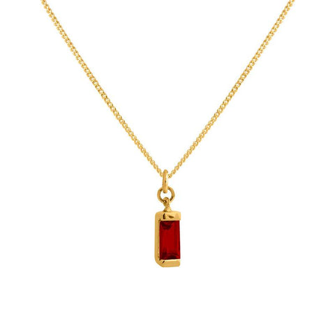 Charm Pendant Necklace - Gold Garnet Baguette