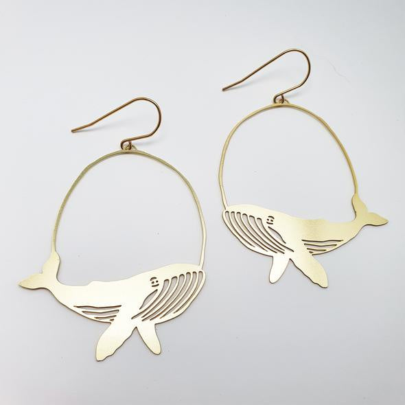 Whale Earrings - Gold