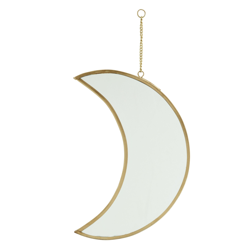 Hanging Brass Mirror - Moon