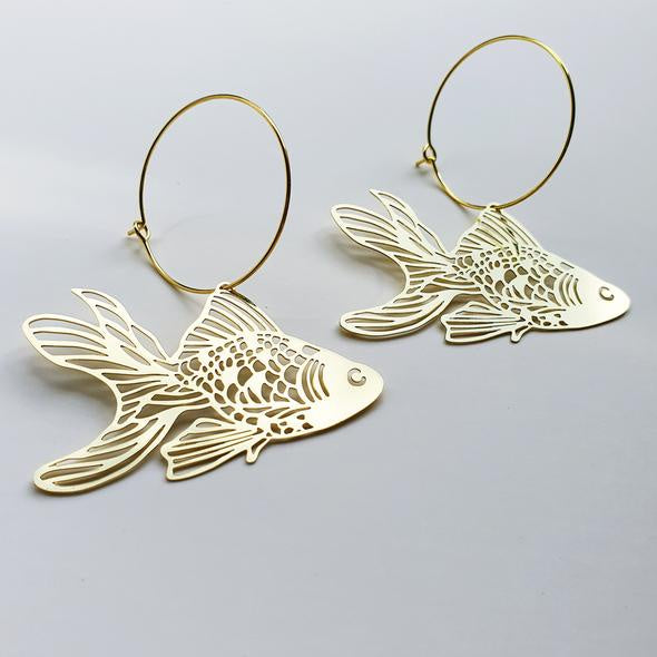 Goldfish Hoop Earrings - Gold