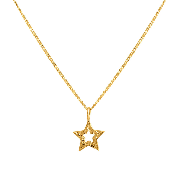 Charm Pendant Necklace - Gold Hammered Star