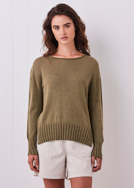 Quinn Egyptian Cotton Jumper - Moss