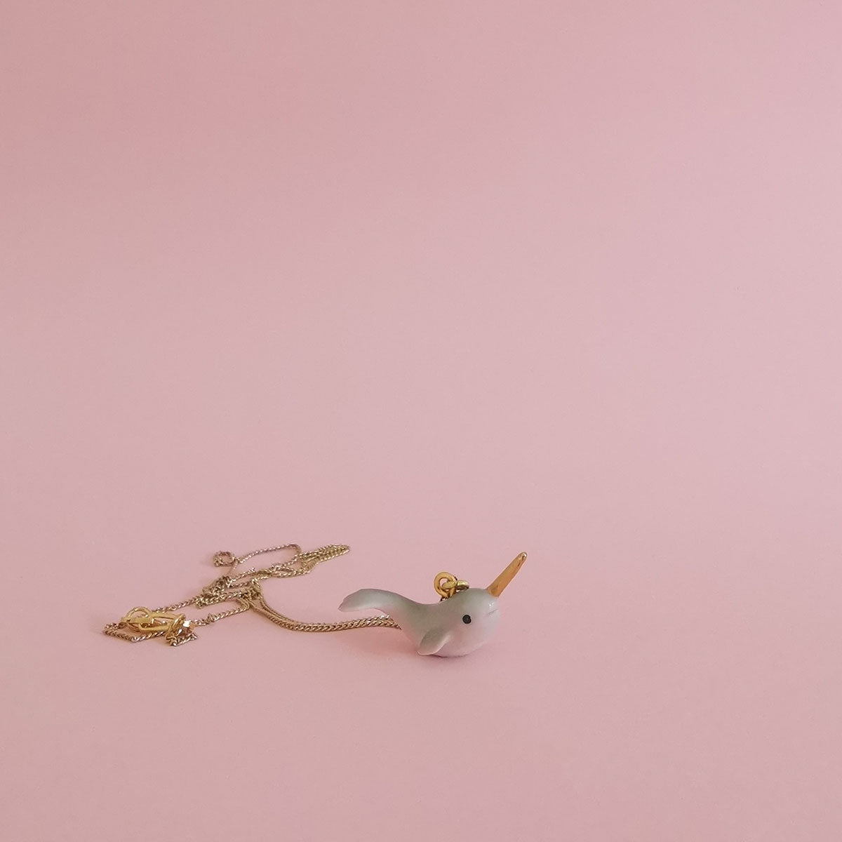 Tiny Porcelain Critter Necklace - Narwhal