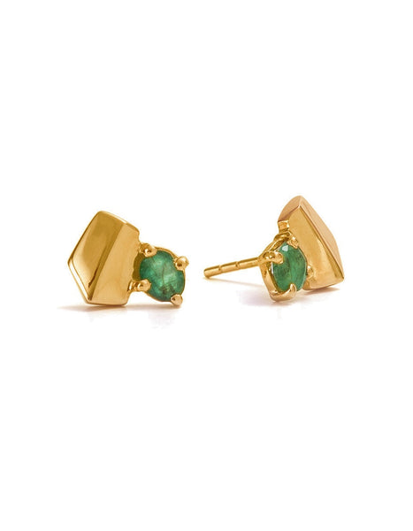 Fifth Symphony Gemstone Studs - Gold & Emerald