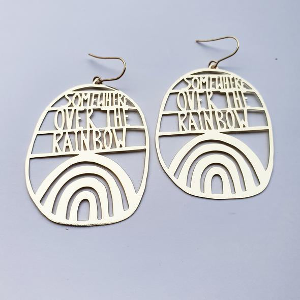 Somewhere Over The Rainbow Earrings - Gold