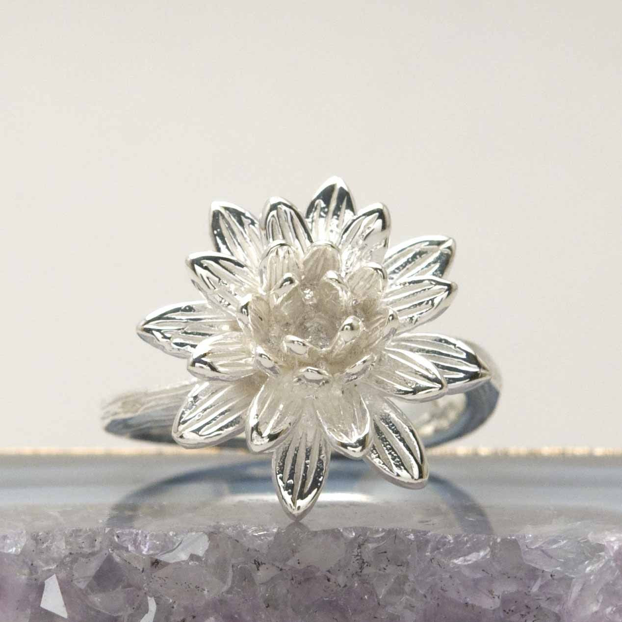 Sterling Floral Lotus Ring