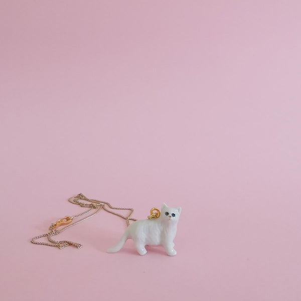 Tiny Porcelain Critter Necklace - Fluffy White Cat