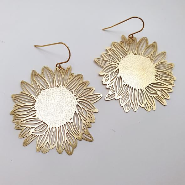 Sunflower Earrings - Gold