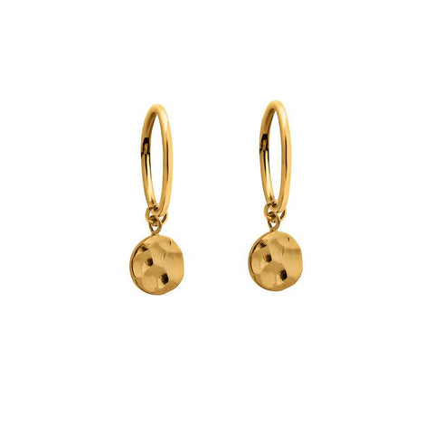 Charm Sleepers - Gold Hammered Disc