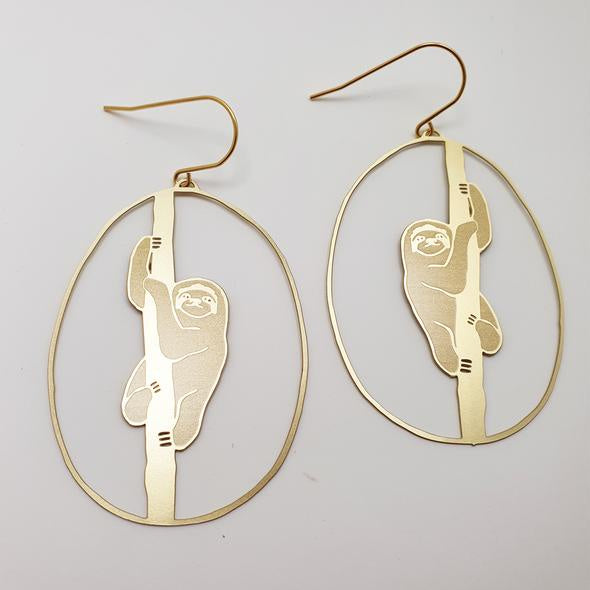 Sloth Earrings - Gold