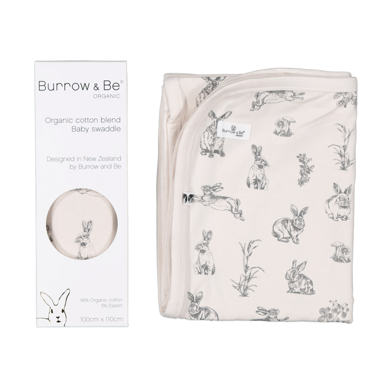 Stretch Swaddle - Almond Grey Burrowers