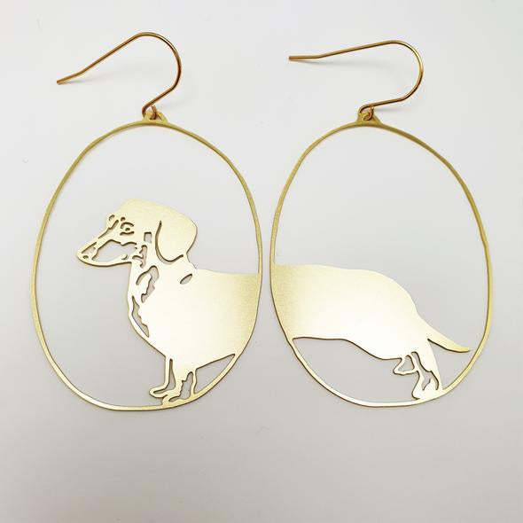 Dachshund Earrings - Gold