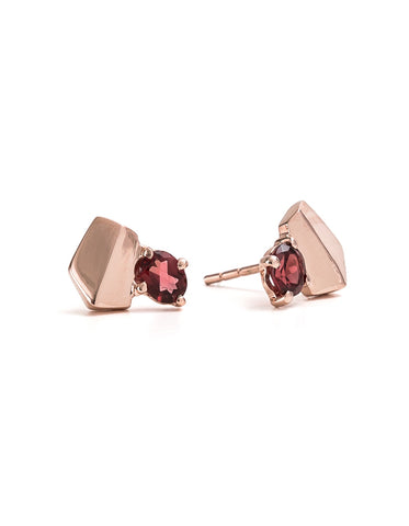 Fifth Symphony Gemstone Studs - Rose Gold & Garnet