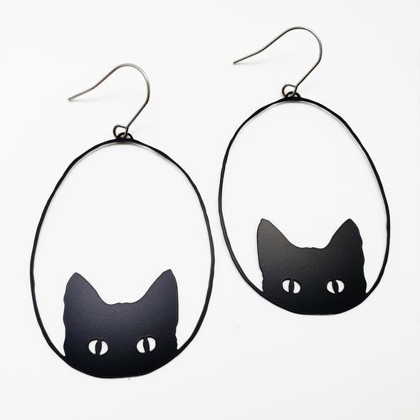 Black Cats Earrings - Black
