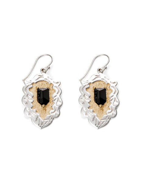 Crest Earrings - Gold and Silver