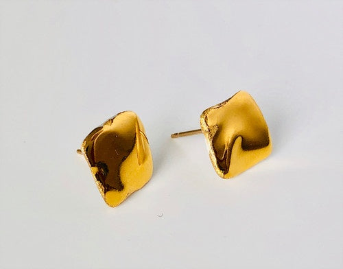 Porcelain and 24k Gold Studs - Small Square