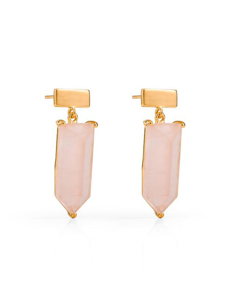 Amalfi Gemstone Drop Earrings - Gold & Rose Quartz